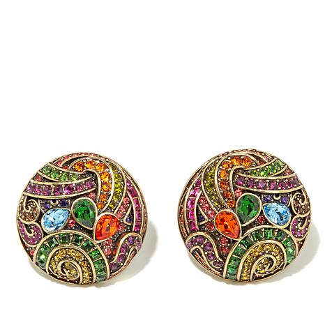 "Heidi Daus ""Witzend Whimsy"" Crystal Button Earrings"