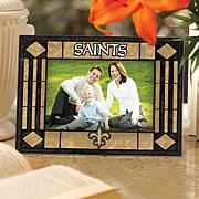 Art Glass Horizontal Picture Frame - New Orleans Saints