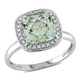 10K Gold 2.73ct Prasiolite and Diamond Halo Ring