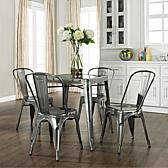 Amelia Five Piece Metal Café Dining Set - Table & Four Chairs in Blue