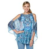 DG2 by Diane Gilman Chiffon Cold-Shoulder Blouse