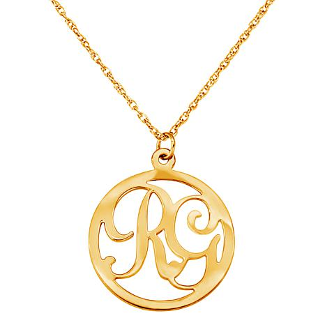 2 initial circle pendant with 20 quot rope chain 7659408 hsn
