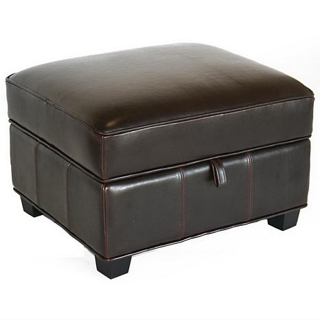 Benvolio Dark Brown Leather Ottoman 6439637 Hsn