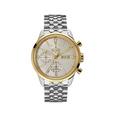 bulova accuswiss murren collection 2 tone 3 subdial chronograph bracelet watch 8288413 hsn. Black Bedroom Furniture Sets. Home Design Ideas