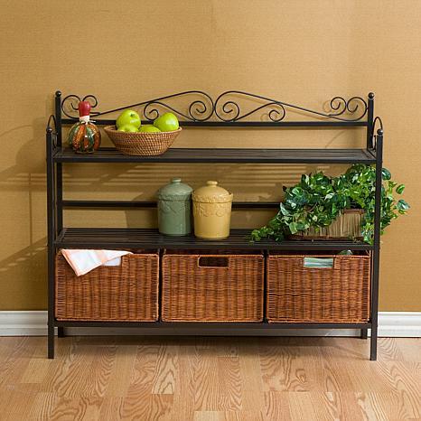 celtic three drawer baker 39 s rack 6408622 hsn. Black Bedroom Furniture Sets. Home Design Ideas