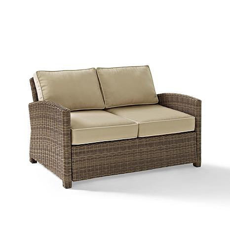 Crosley Biltmore Outdoor Wicker Loveseat With Sand Cushions 7743787 Hsn