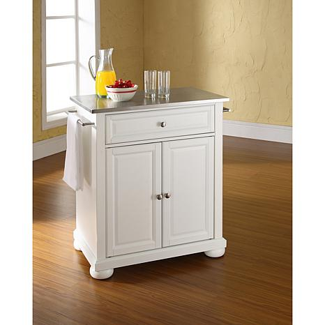 Crosley Alexandria Stainless Steel Top Portable Kitchen Island White 7743735 Hsn