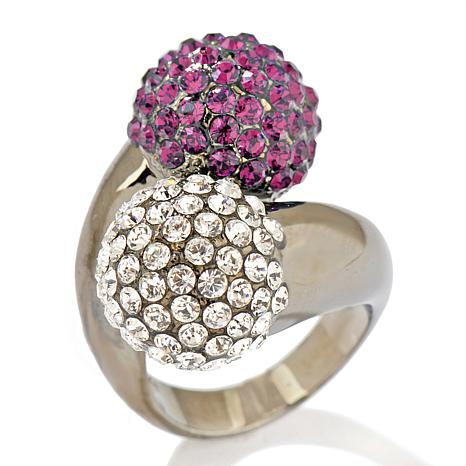 "Joan Boyce ""Kiss-a-Ball"" Pavé Crystal Bypass Ring"