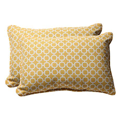 Decorative Pillows Rectangular : Pillow Perfect Set of 2 Oversized Outdoor Rectangular Throw Pillows - Hockley Y - 7529061 HSN