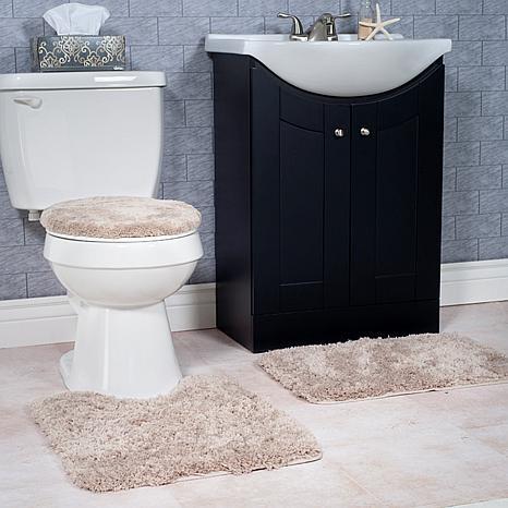 plush 3 non slip bath mat rug set taupe hsn