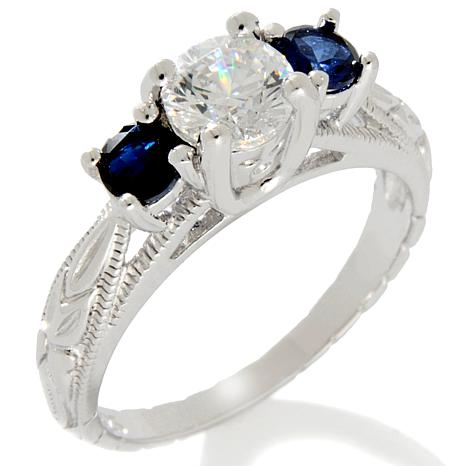 Xavier 1.03ct Absolute™ & Created Sapphire 3-Stone Ring