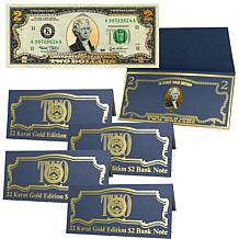 $2 Bill with 22K Gold Foil Highlights - Set of 5