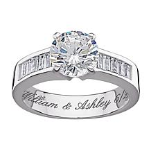 4.96ct Round and Baguette CZ Engraved Engagement Ring