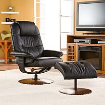 Black Bonded/Reconstituted Leather Recliner and Ottoman