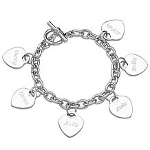"Engraved Hearts Name Charm 8"" Bracelet"