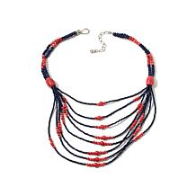 Jay King Lapis and Pink Coral Bead Layered Necklace