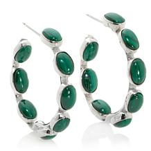 Jay King Oval Malachite Inside/Outside Hoop Earrings