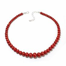 "Jay King Red Coral Rondelle Bead 20"" Necklace"