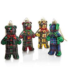 Jeffrey Banks Set of 4 Plaid Bear Ornaments