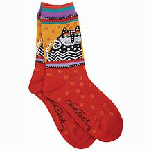 Laurel Burch Socks - Polka Dot Cats -Red