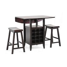 Reynolds Black Wood 3pc Drop-Leaf Pub Set w/Wine Rack