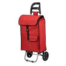 Rolling Shopping Cart with Pockets - Red