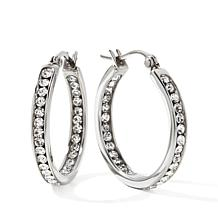 "Stainless Steel Crystal Inside/Outside 1"" Hoop Earrings"