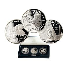 1994 Proof U.S. Veterans 3-piece Silver Dollar Set