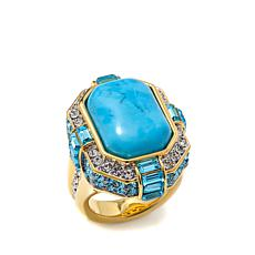 "AKKAD ""Deco Fever"" Blue Howlite and Crystal Ring"