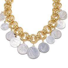 "Bellezza Multi Lira Coin Bronze 18"" Dangle Necklace"