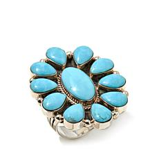 Chaco Canyon Kingman Turquoise Cluster Ring