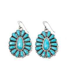 Chaco Canyon Zuni Turquoise Cluster Drop Earrings