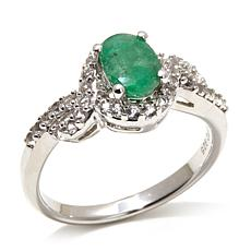 Colleen Lopez 1.02ct Emerald/White Topaz Sterling Ring
