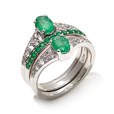 Colleen Lopez 2.51ct Emerald and White Topaz 3-Ring Set