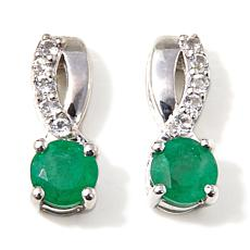 Colleen Lopez .97ct Emerald & White Topaz Earrings