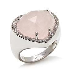 "Colleen Lopez ""Blushing Love"" Rose Quartz & Zircon Ring"