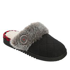 Dearfoams Quilted Clog Slipper with Faux Fur Trim