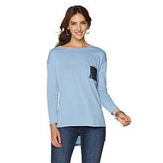 DG2 by Diane Gilman Burnout Top with Sequin Pocket