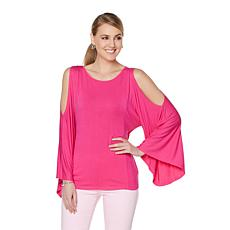 DG2 by Diane Gilman Cold-Shoulder Poncho Top