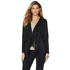 DG2 by Diane Gilman Faux Suede Fringe Waterfall Jacket