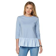 DG2 by Diane Gilman Knit Top with Chiffon Ruffle