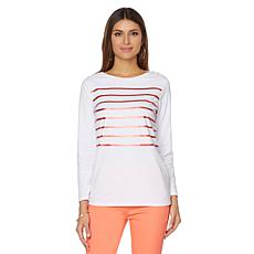 DG2 by Diane Gilman Metallic Stripe Boatneck Top