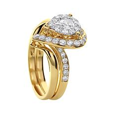 Diamond Couture 14K Gold 1ct Pear Diamond Ring Set