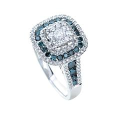 Diamond Couture 14K White & Blue Diamond Cushion Ring