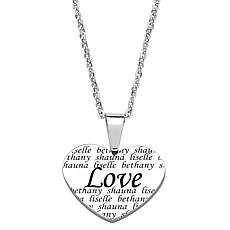 Everscribe Engraved Name Heart-Shaped Pendant and Chain