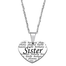 "Everscribe ""Sister"" Engraved Heart Pendant with Chain"