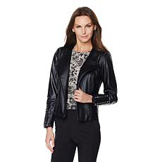 G by Giuliana Ultra Luxe Moto Jacket with Stud Detail