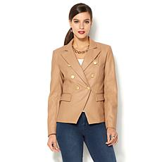IMAN Global Chic Runway Glam Faux Leather Luxe Blazer