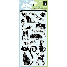 "Inkadinkado 4"" x 8"" Sheet of Clear Stamps - Cats"