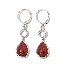 Jade of Yesteryear Red Jade and CZ Teardrop Earrings
